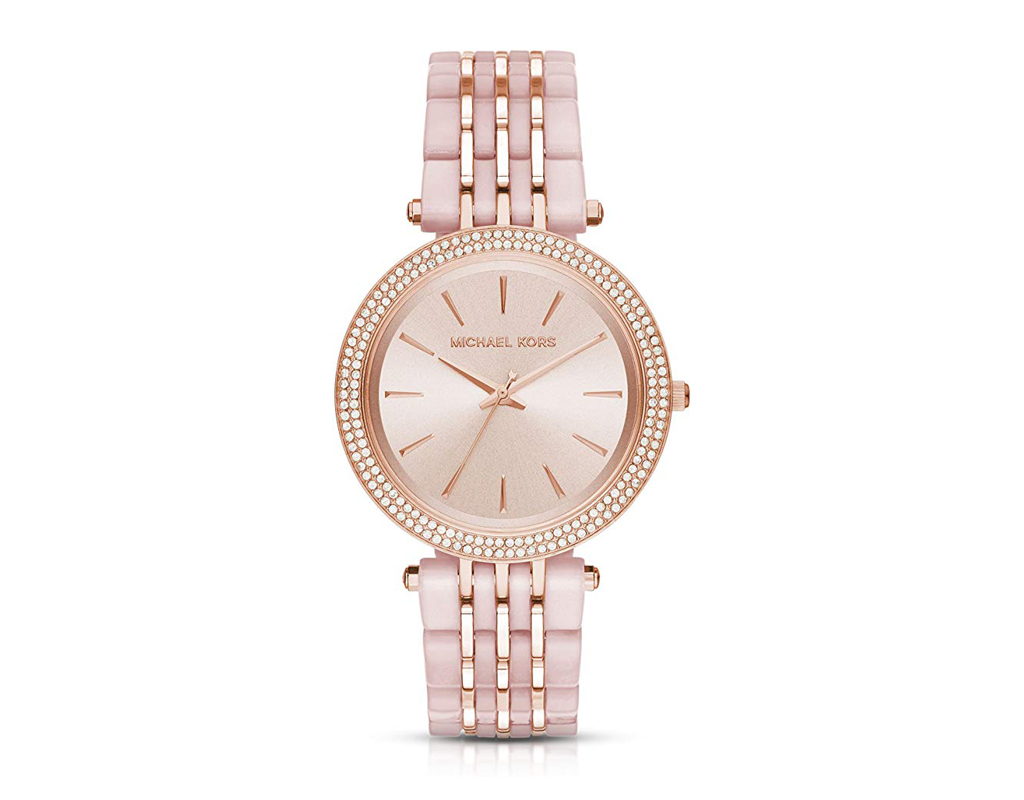 Darci Rose Goldtone and Blush Acetate Watch