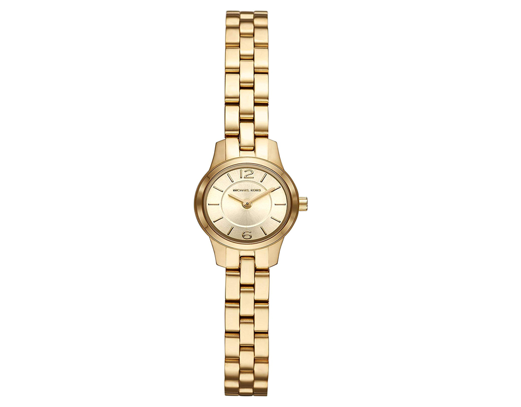 Michael Kors Watch for Women,Runway Quartz Watch with Stainless-Steel-Plated Strap;