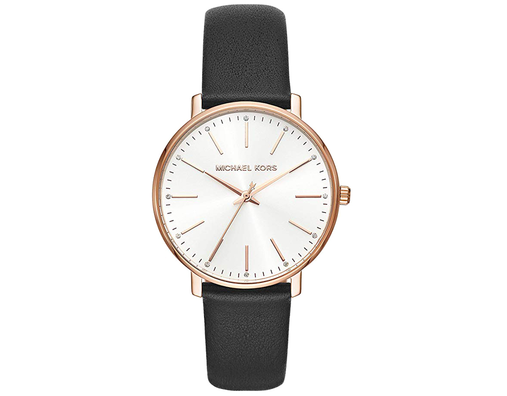 Michael Kors Watch for Women,Stainless Steel Quartz Watch with Leather Calfskin Strap