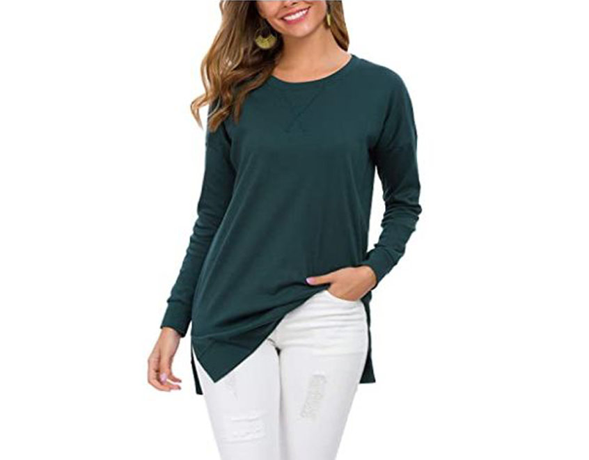 Long Sleeve Casual Pullover Tunic Tops
