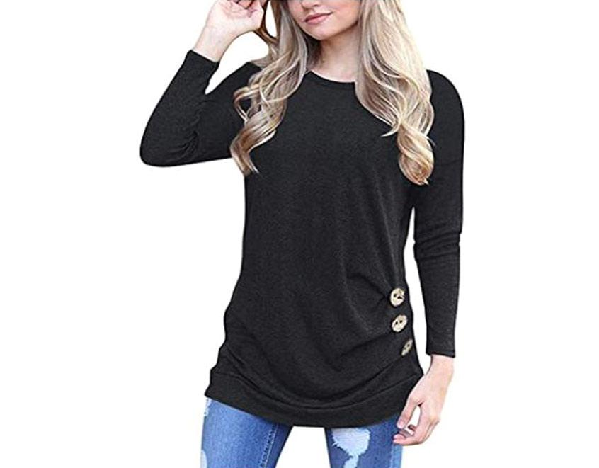 Women's Casual Long Sleeve Tunic T Shirt Blouse Tops